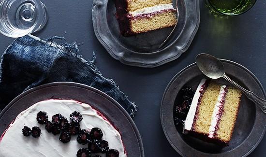 Black Tea Cake With Blackberry Lime Jam Honey Whipped Cream